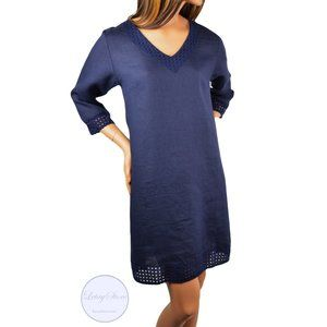 NWT Made In Italy Eyelet Trim Linen Shift Dress